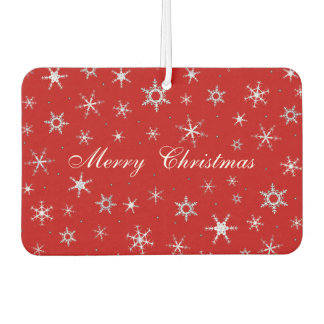 Merry Christmas Red Snowflakes Car Air Freshener