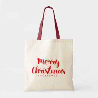 Merry Christmas Red Text Design Budget Tote Bag