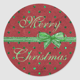 Merry Christmas Red Velvet Green Bow Stickers