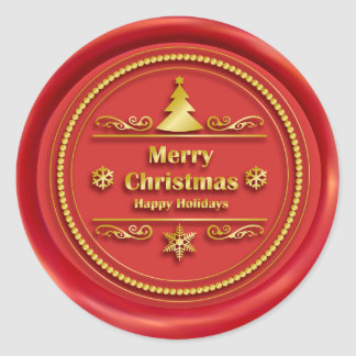 Merry Christmas Red Wax Seal Round Sticker