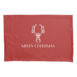 MERRY CHRISTMAS Red & White Christmas Reindeer Pillowcase