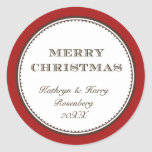 Merry Christmas red white elegant holiday gift tag Round Stickers