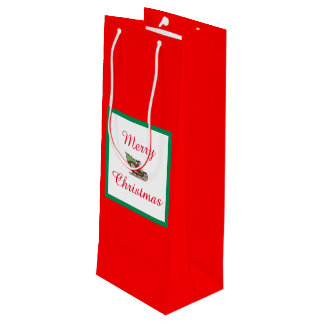 Merry Christmas Red Wine Gift Bag by Janz