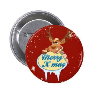 Merry Christmas Reindeer 6 Cm Round Badge