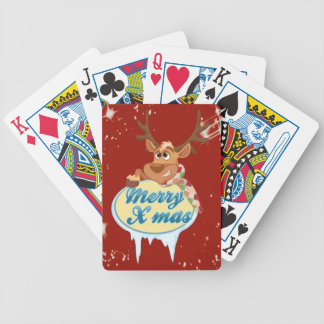 Merry Christmas Reindeer Bicycle Playing Cards