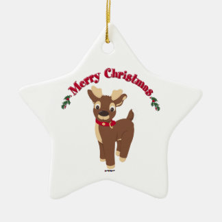 Merry Christmas Reindeer Christmas Ornament