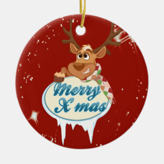Merry Christmas Reindeer Christmas Ornament