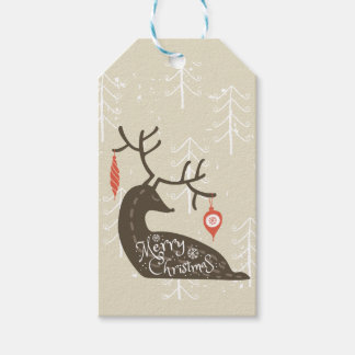 Merry Christmas Reindeer Cozy Gift Tags