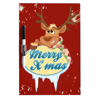 Merry Christmas Reindeer Dry-Erase Whiteboards
