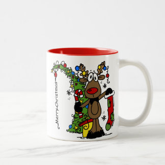 Merry Christmas Reindeer Festive Two-Tone Coffee Mug