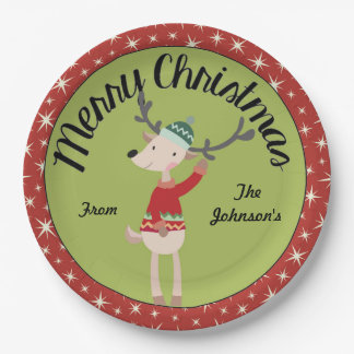 Merry Christmas Reindeer plate (personalize)