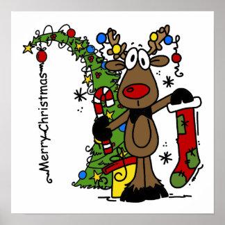 Merry Christmas Reindeer Poster