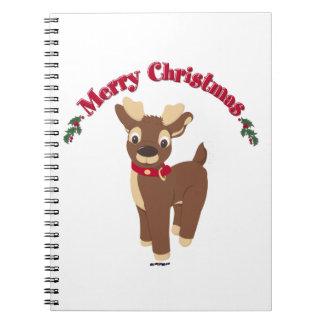 Merry Christmas Reindeer Spiral Notebook