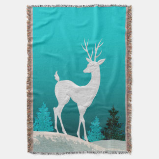 Merry Christmas Reindeer vintage | teal Throw Blanket
