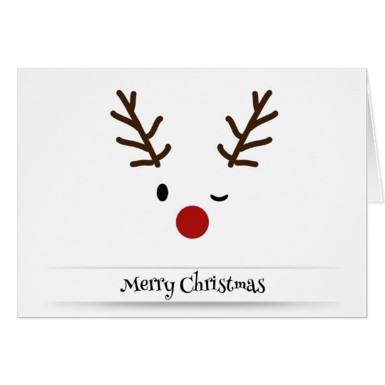 Merry Christmas Reindeer Wink Holiday Xmas Card
