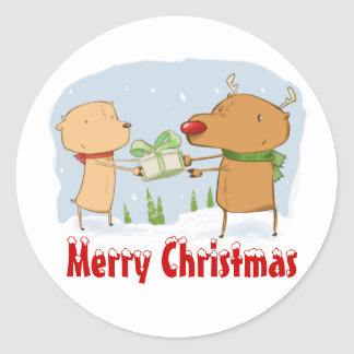 Merry Christmas Reindeers Round Sticker