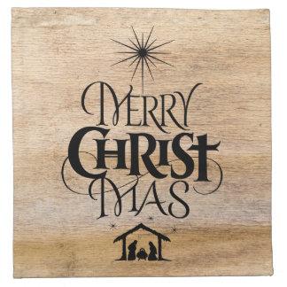 Merry Christmas Religious Calligraphy Rustic Wood Napkin