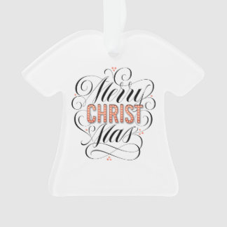 Merry CHRISTmas Religious Red Marquee Calligraphy Ornament