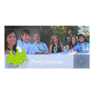 Merry Christmas Retro Lime Trees Family Photo Card
