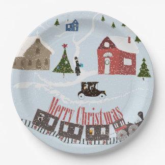 Merry Christmas , retro Paper Plate