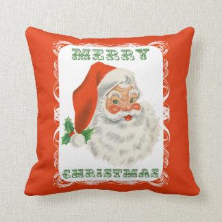 Merry Christmas Retro Santa Claus Throw Pillows