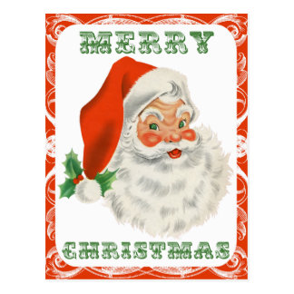 Merry Christmas Retro Santa Claus Postcard