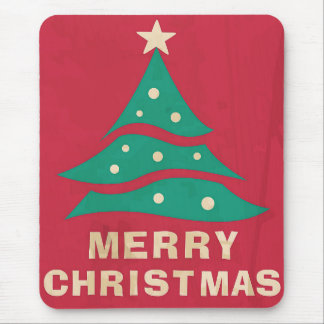 Merry Christmas Retro Tree Mouse Pads