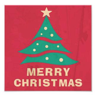 Merry Christmas Retro Tree Photographic Print