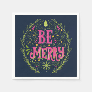 Merry Christmas Retro With Hand Lettering Disposable Serviettes