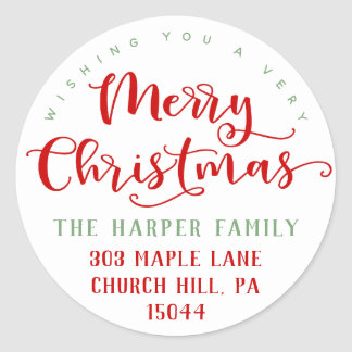 Merry Christmas Return Address Classic Round Sticker