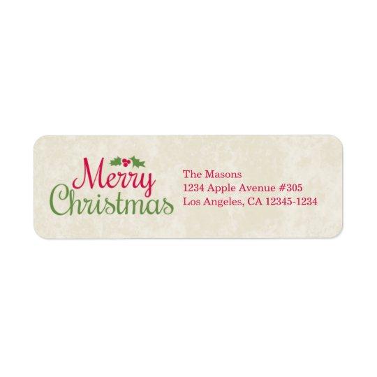 Merry Christmas | Return Address Label