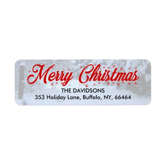 Merry Christmas Return Address Labels - Snow