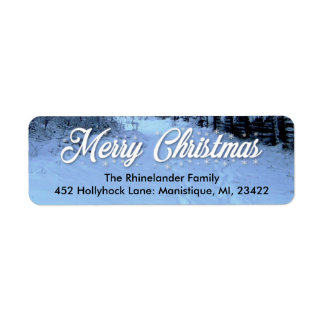 Merry Christmas Return Address Labels - Snow