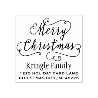 Merry Christmas | Return Address Rubber Stamp