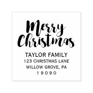 Merry Christmas Return Address Self-inking Stamp