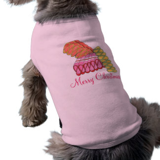 Merry Christmas Ribbon Candy Holiday Dog Tee