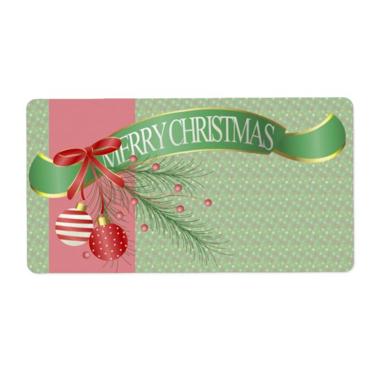 Merry Christmas Ribbons and Bows Kitchen Labels
