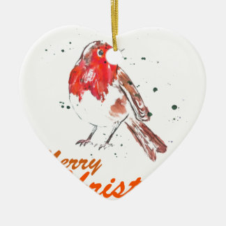 Merry Christmas Robin Watercolour Design Christmas Ornament