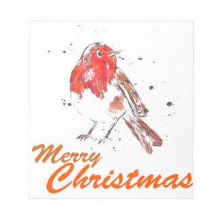 Merry Christmas Robin Watercolour Design Notepad