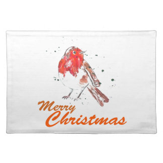 Merry Christmas Robin Watercolour Design Placemat