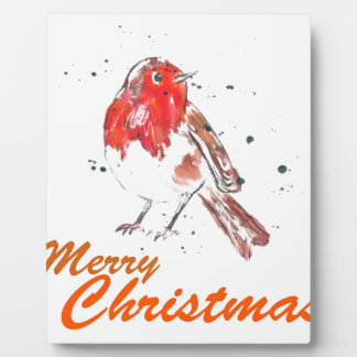 Merry Christmas Robin Watercolour Design Plaque
