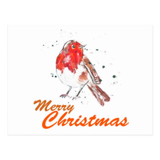 Merry Christmas Robin Watercolour Design Postcard