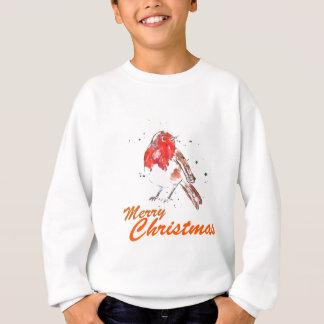Merry Christmas Robin Watercolour Design Sweatshirt