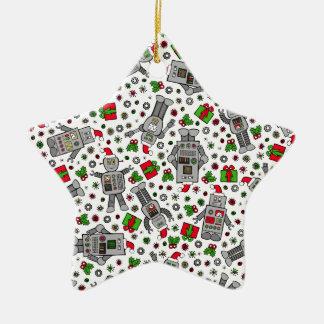 Merry Christmas Robots Ceramic Star Decoration