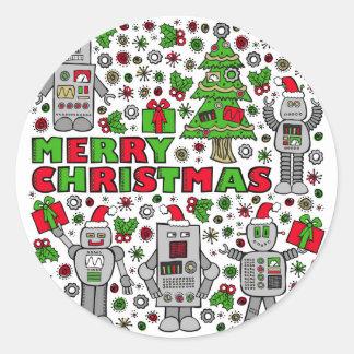 Merry Christmas Robots Classic Round Sticker
