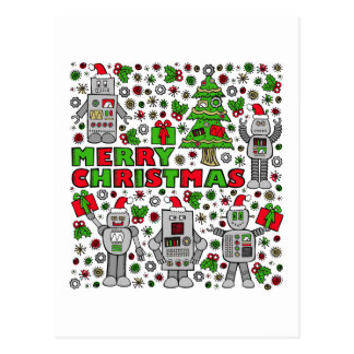 Merry Christmas Robots Postcard