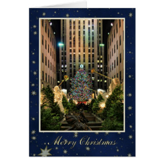 Merry Christmas: Rock Center, Blue Starry Sky Greeting Card