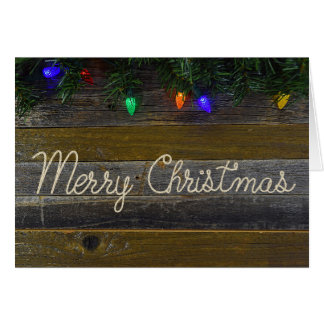 Merry Christmas rope and pine Greeting Card