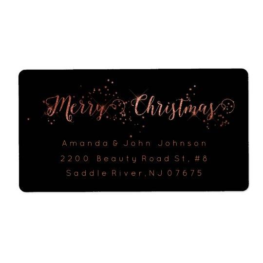 Merry Christmas Rose Gold Pink Return Address Labe