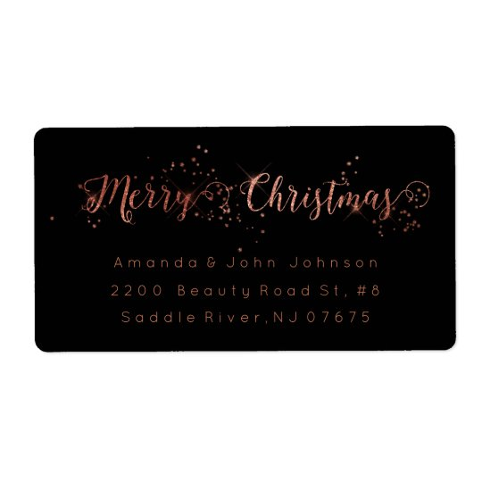 Merry Christmas Rose Gold Pink Return Address Labe Shipping Label